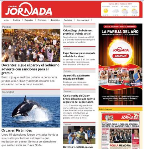 "Foto Orka in de ""Jornada"" krant van Chubut"